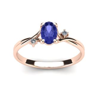 1/2 Carat Oval Shape Tanzanite and Two Diamond Accent Ring In 14 Karat Rose Gold