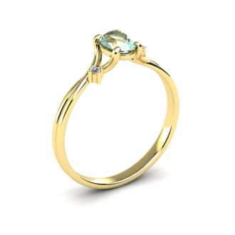 1/2 Carat Oval Shape Green Amethyst and Two Diamond Accent Ring In 14 Karat Yellow Gold