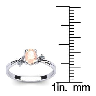 1/2 Carat Oval Shape Morganite and Two Diamond Accent Ring In 14 Karat White Gold