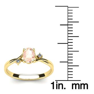 1/2 Carat Oval Shape Morganite and Two Diamond Accent Ring In 14 Karat Yellow Gold