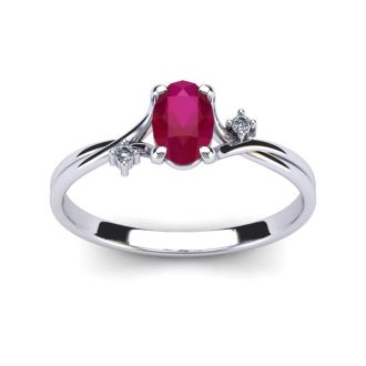 1/2 Carat Oval Shape Ruby and Two Diamond Accent Ring In 14 Karat White Gold
