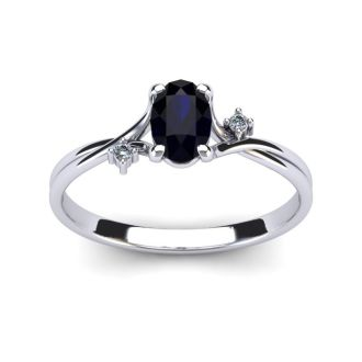 1/2 Carat Oval Shape Sapphire and Two Diamond Accent Ring In 14 Karat White Gold