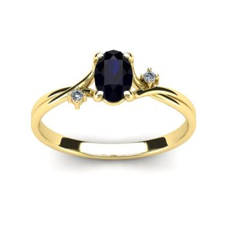 1/2 Carat Oval Shape Sapphire and Two Diamond Accent Ring In 14 Karat Yellow Gold