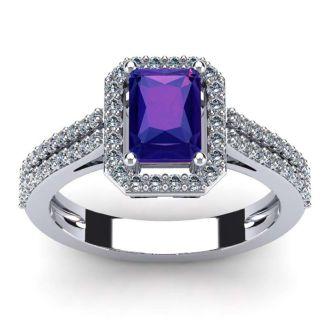 1 1/3 Carat Amethyst and Halo Diamond Ring In 14 Karat White Gold