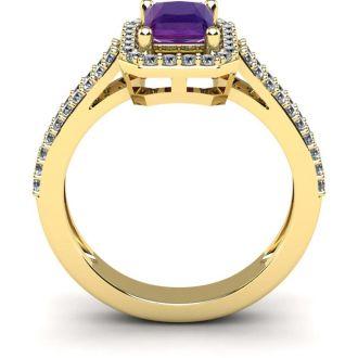 1 1/3 Carat Amethyst and Halo Diamond Ring In 14 Karat Yellow Gold