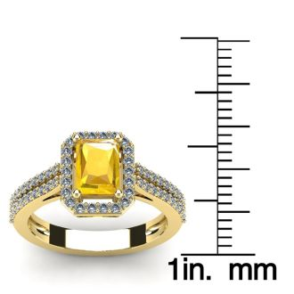 1 1/3 Carat Citrine and Halo Diamond Ring In 14 Karat Yellow Gold