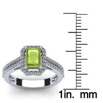 1 1/2 Carat Peridot and Halo Diamond Ring In 14 Karat White Gold