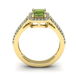 1 1/2 Carat Peridot and Halo Diamond Ring In 14 Karat Yellow Gold