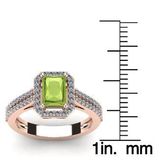 1 1/2 Carat Peridot and Halo Diamond Ring In 14 Karat Rose Gold