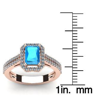 1 1/2 Carat Blue Topaz and Halo Diamond Ring In 14 Karat Rose Gold
