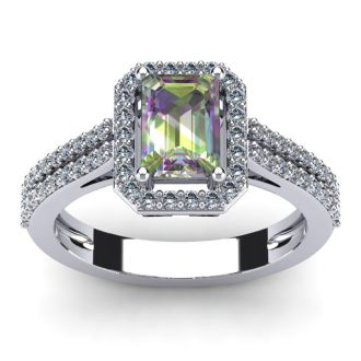 1 1/3 Carat Mystic Topaz and Halo Diamond Ring In 14 Karat White Gold