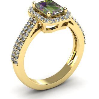 1 1/3 Carat Mystic Topaz and Halo Diamond Ring In 14 Karat Yellow Gold