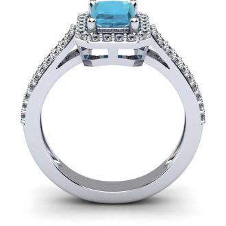1 1/3 Carat Aquamarine and Halo Diamond Ring In 14 Karat White Gold
