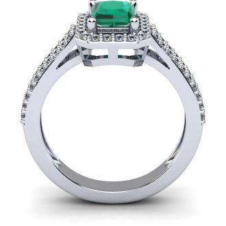 1 1/3 Carat Emerald and Halo Diamond Ring In 14 Karat White Gold