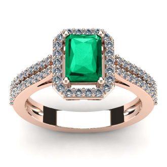 1 1/3 Carat Emerald and Halo Diamond Ring In 14 Karat Rose Gold