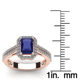 1 1/2 Carat Tanzanite and Halo Diamond Ring In 14 Karat Rose Gold