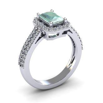 1 1/3 Carat Green Amethyst and Halo Diamond Ring In 14 Karat White Gold
