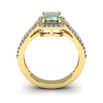 1 1/3 Carat Green Amethyst and Halo Diamond Ring In 14 Karat Yellow Gold