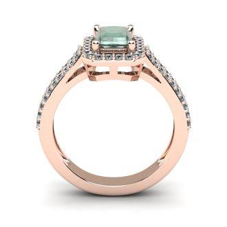 1 1/3 Carat Green Amethyst and Halo Diamond Ring In 14 Karat Rose Gold