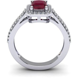 1 1/2 Carat Ruby and Halo Diamond Ring In 14 Karat White Gold