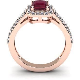 1 1/2 Carat Ruby and Halo Diamond Ring In 14 Karat Rose Gold