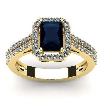 1 1/2 Carat Sapphire and Halo Diamond Ring In 14 Karat Yellow Gold
