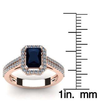 1 1/2 Carat Sapphire and Halo Diamond Ring In 14 Karat Rose Gold