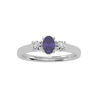 1/2 Carat Oval Shape Amethyst and Two Diamond Ring In 14 Karat White Gold