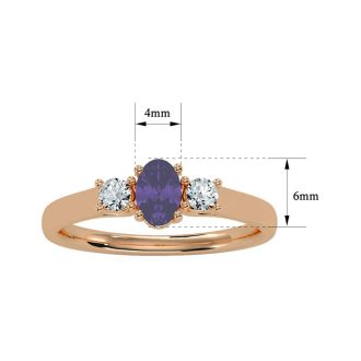 1/2 Carat Oval Shape Amethyst and Two Diamond Ring In 14 Karat Rose Gold