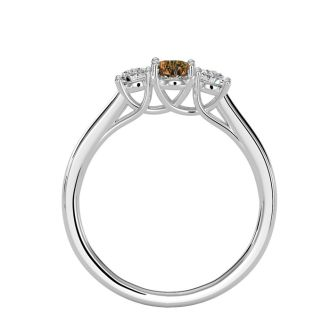 1/2 Carat Oval Shape Citrine and Two Diamond Ring In 14 Karat White Gold