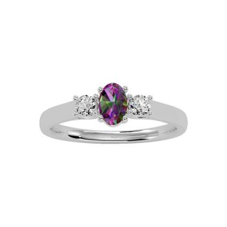 3/4 Carat Oval Shape Mystic Topaz and Two Diamond Ring In 14 Karat White Gold