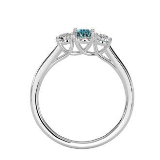 1/2 Carat Oval Shape Aquamarine and Two Diamond Ring In 14 Karat White Gold