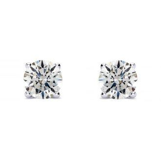 1/2 Carat Diamond Stud Earrings In 14 Karat White Gold