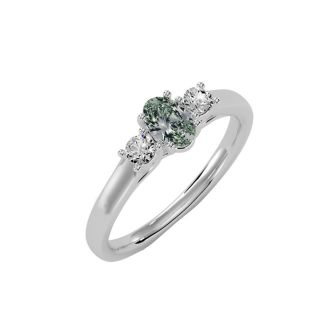 1/2 Carat Oval Shape Green Amethyst and Two Diamond Ring In 14 Karat White Gold