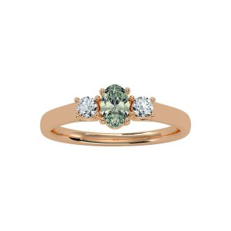 1/2 Carat Oval Shape Green Amethyst and Two Diamond Ring In 14 Karat Rose Gold