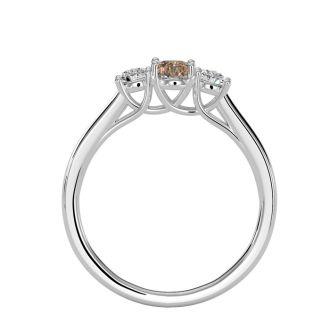 1/2 Carat Oval Shape Morganite and Two Diamond Ring In 14 Karat White Gold