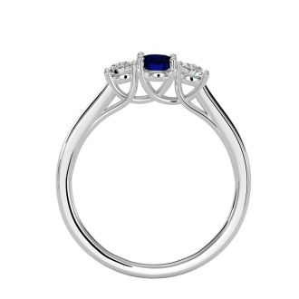 3/4 Carat Oval Shape Sapphire and Two Diamond Ring In 14 Karat White Gold