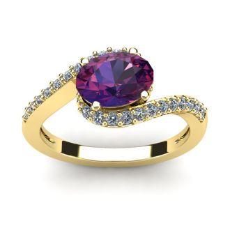 1 1/3 Carat Oval Shape Amethyst and Halo Diamond Ring In 14 Karat Yellow Gold