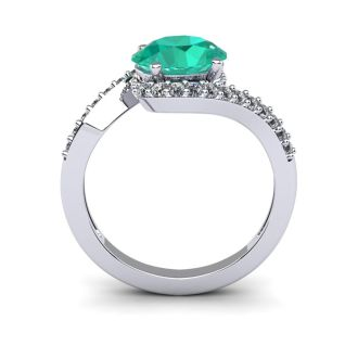 1 1/2 Carat Oval Shape Emerald and Halo Diamond Ring In 14 Karat White Gold