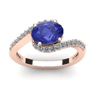 1 1/2 Carat Oval Shape Tanzanite and Halo Diamond Ring In 14 Karat Rose Gold