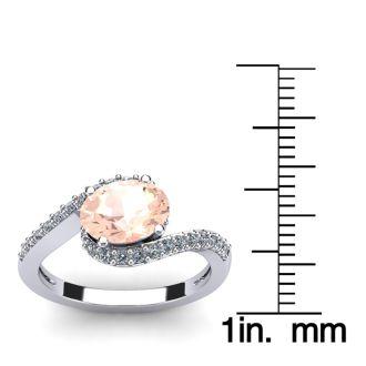 1 1/2 Carat Oval Shape Morganite and Halo Diamond Ring In 14 Karat White Gold