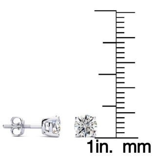 2/3 Carat Diamond Stud Earrings In 14 Karat White Gold