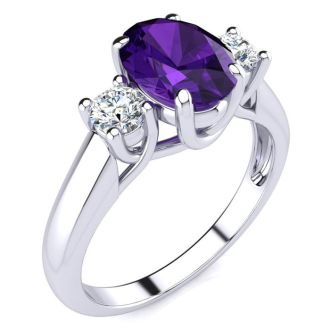 1 1/4 Carat Oval Shape Amethyst and Two Diamond Ring In 14 Karat White Gold