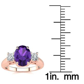 1 1/4 Carat Oval Shape Amethyst and Two Diamond Ring In 14 Karat Rose Gold