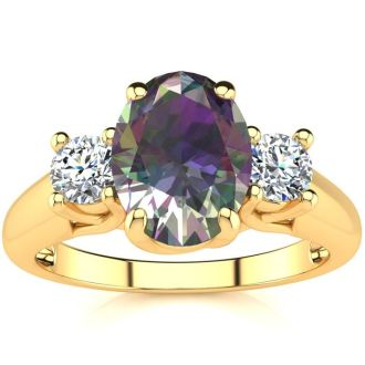 1 3/4 Carat Oval Shape Mystic Topaz and Two Diamond Ring In 14 Karat Yellow Gold