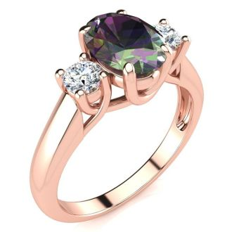 1 3/4 Carat Oval Shape Mystic Topaz and Two Diamond Ring In 14 Karat Rose Gold