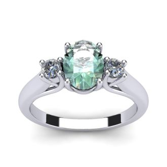 1 1/4 Carat Oval Shape Green Amethyst and Two Diamond Ring In 14 Karat White Gold