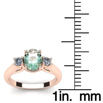 1 1/4 Carat Oval Shape Green Amethyst and Two Diamond Ring In 14 Karat Rose Gold