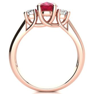 1 3/4 Carat Oval Shape Ruby and Two Diamond Ring In 14 Karat Rose Gold
