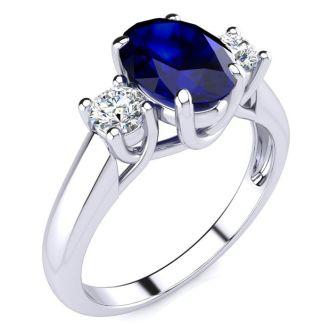 Beautiful Blue Sapphire and Diamond Ring In 14 Karat White Gold